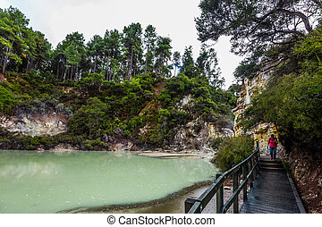Lake with light green opaque water. The magic country is Wai...