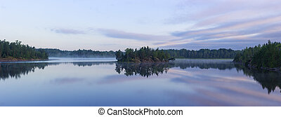lake with mist at dawn