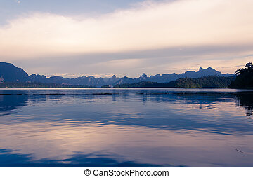 lake with mountain view