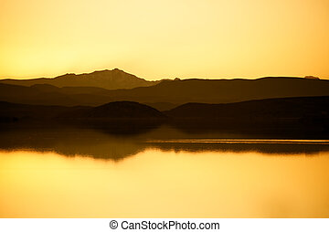 Lake with mountains - Quiet lake with mountains in the ...