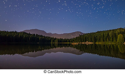 Lake with Reflection and Stars
