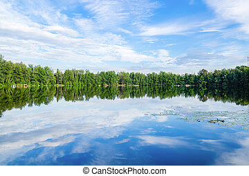 Lake with reflection of sky in water