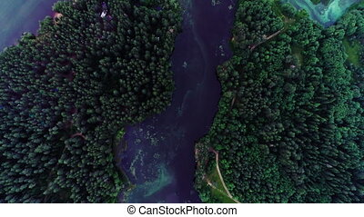 Lake with turquoise water and green trees. Landscape with rivers, forest, lake