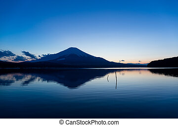 Lake Yamanaka with mountain Fuji at sunset