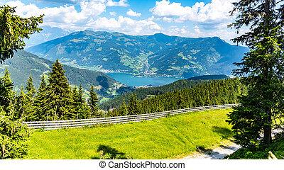Lake Zell, German: Zeller See, at Zell am See in Austrian Alps, Austria