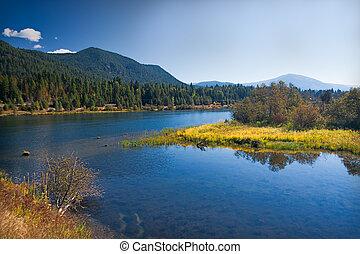 lakeland, con, pradera, en, montana