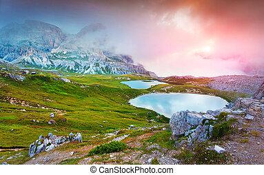Lakes Del Piani, in National Park Tre Cime di Lavaredo. Dolomite
