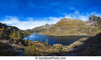 Lakes Gemelli. Alpine lake of the Alps orobias in northern Italy.