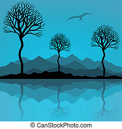 Trees are reflected in lake. A vector illustration