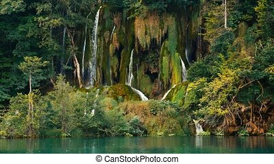 Lakes with waterfall in Croatia, Europe. Location: Plitvice...