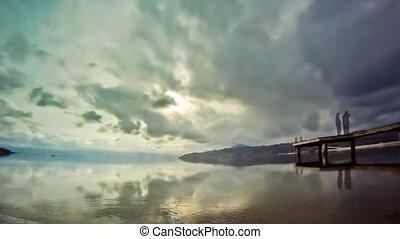 lakeshore, múlás, felhős, video, idő