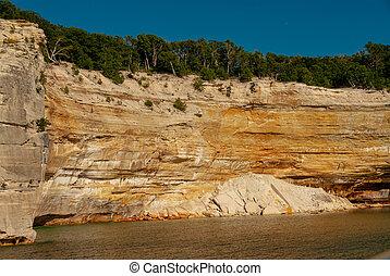 lakeshore, national, dargestellt, steinen