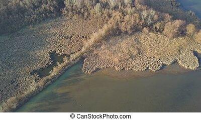 Lakeside autumn landscape