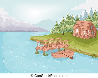 Lakeside Cabin - Illustration Featuring a Cabin by the Lake