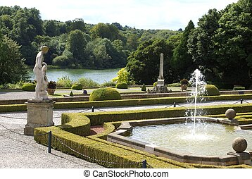 lakeside, fontaine, jardin