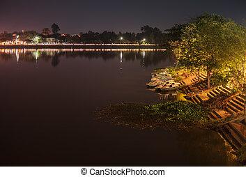 Lakeside. - Lakeside at night province of Ubon Ratchathani,...