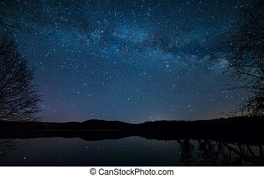 Lakeside Milky Way - Milky Way beside a lake with trees