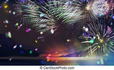 lakeside, multicolor, fogos artifício, ilustração