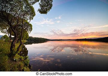 lakeside, pôr do sol, reflexão