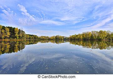 lakeside, paisagem outono, coloridos