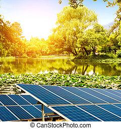 lakeside, panelen, zonne