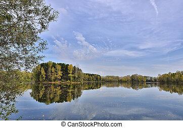 lakeside, paysage automne, coloré