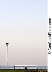 lakeside, poteau lampe, banc vertical