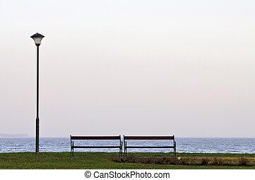 lakeside, poteau lampe, horizontal, banc