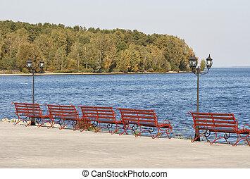 lakeside, promenade, bancs, lanterne