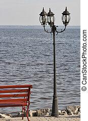 lakeside, promenade, lanterne, banc