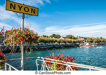 Lakeside sign for Nyon in Switzerland - Lakeside sign for...