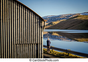 lakeside, solitaire, homme