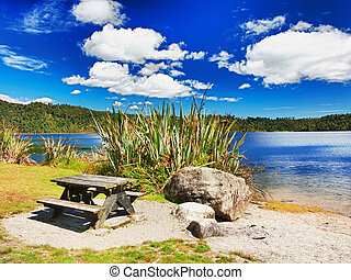 Lakeside - Table for picnic on lakeside in New Zealand.