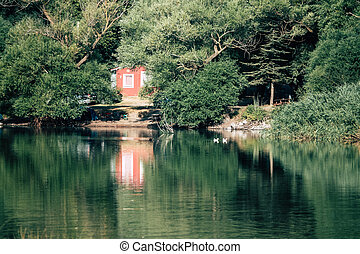 lakeside, turquie, karagol, arbres, maison, izmir, caché