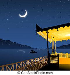 lakeside, vue, paysage, hangar bateaux, clair lune, reflet