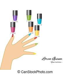lakier, kobieta, zwracający się, paznokcie, ręka, paznokieć, polish.