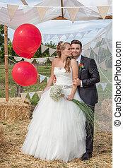 lakodalmi, párosít, newly esküvő, -ban, esküvő