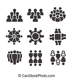 lakosság, ikon, emberek, csoport