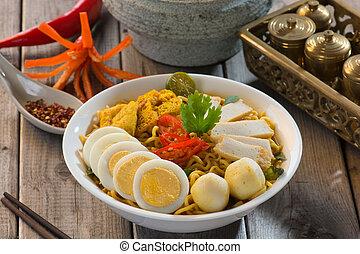 laksa, fettucina, curry, singapore