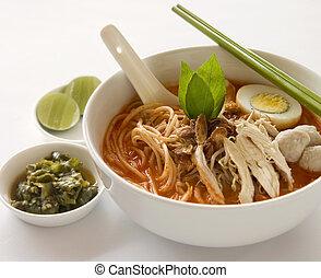 Laksa noodle soup - Asian asam laksa hot, spicy and sour ...