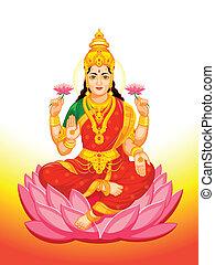 lakshmi, gudinna, indisk