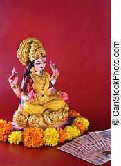 Lakshmi - Hindu goddess ,Goddess Lakshmi. Goddess Lakshmi during Diwali Celebration. Indian Hindu Light Festival called Diwali