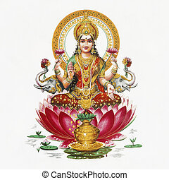 Lakshmi - Hindu goddess of wealth, prosperity, light, wisdom, fortune and fertility sitting on flower of red lotus, India, Asia