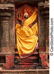Lakshmi image. Hindu goddess bas relief in Hindu temple. ...