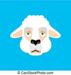 lama, alpacka, emoji., illustration, ansikte, avatar., vektor, djur, trist, sorglig