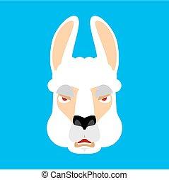 lama, alpacka, emoji., ilsket, ont, ansikte, avatar., vektor, illustration, djur