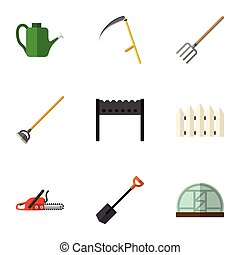 lama, appartamento, set, bailer, seghetto, elements., barriera, coltivi attrezzo, include, anche, vettore, lattina, objects., altro, icona