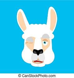 lama, blinkning, emoji., illustration, ansikte, avatar., vektor, djur, alpacka, lycklig
