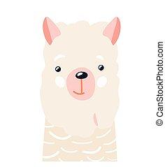 Lama cute animal baby face vector illustration. Hand drawn style nursery character. Scandinavian funny kid design