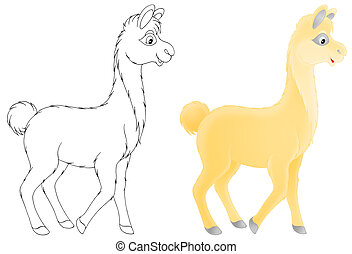 Lama - Color and black-and-white illustration of a yellow...